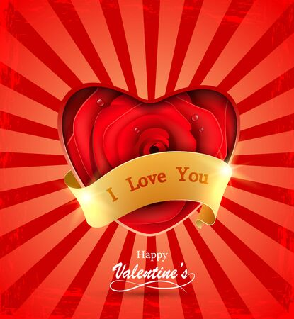Valentine's day greeting card with red rose and ribbon.