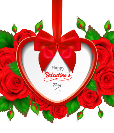 Valentines day greeting card with red roses.
