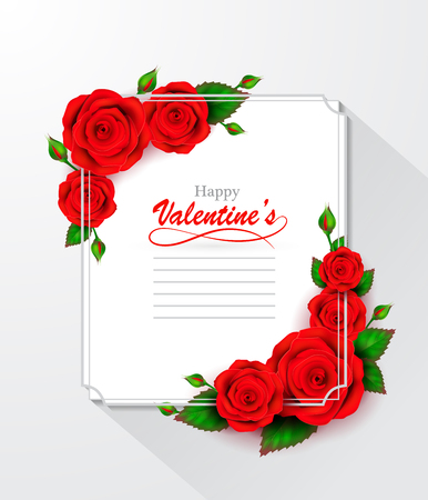 Happy Valentines Day greeting card with frame and roses. Ilustrace