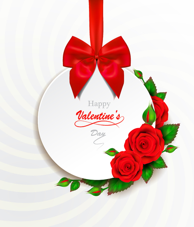Happy Valentines Day greeting card with red heart and roses.