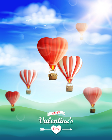 Valentines day greeting card with hot air balloons.
