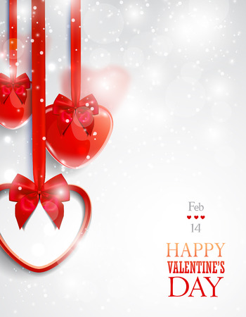 Valentine's day greeting card with red heart-shaped decorative items.