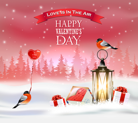 Valentines day greeting card with lanterns, bullfinch, gift boxes and balloon. Winter landscape.