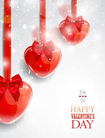 Valentines day greeting card with red heart-shaped decorative items. Ilustrace