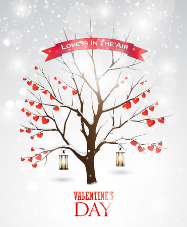 Valentines day greeting card with tree, lanterns and hearts.