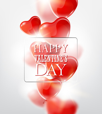 Valentines day greeting card with red heart-shaped balloons.
