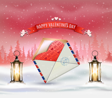 Happy Valentines card with winter landscape, lampposts and letter