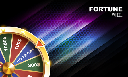 Wheel of fortune gambling background on black background vector illustration Ilustrace