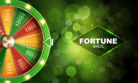 Wheel of fortune gambling background on green background vector illustration