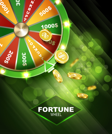 Wheel of fortune gambling on green background vector illustration