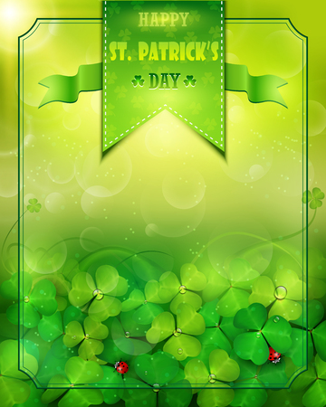 St. Patrick's Day card with clovers design. Illustration