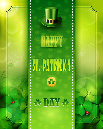 St. Patrick's Day card with clovers and Leprechaun green hat.