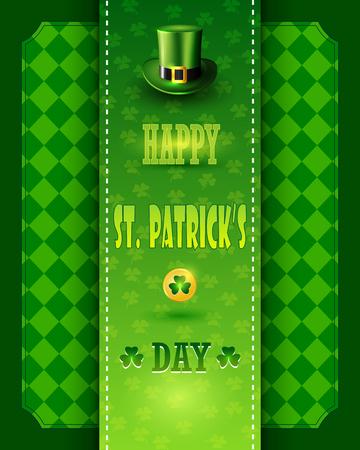 St. Patrick's Day card with Leprechaun green hat. Illustration
