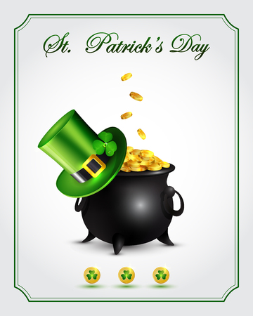 St. Patrick's Day card with pot of gold and Leprechaun green hat. Illustration