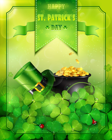 St. Patricks Day card with pot of gold and Leprechaun green hat with clover