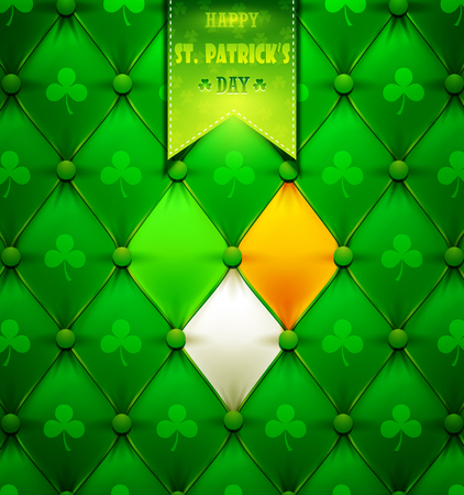 St. Patricks Day greeting card with green leather.