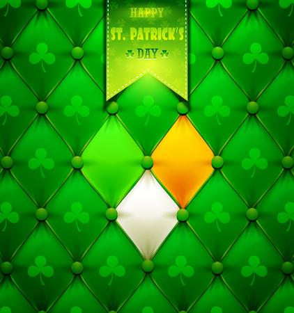 St. Patrick's Day wenskaart met groen leer.