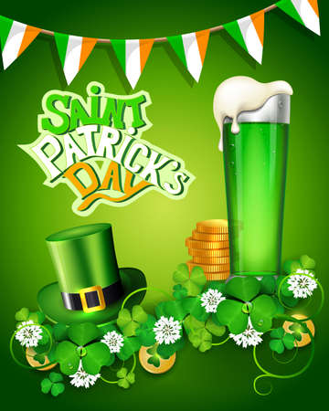 St. Patricks Day greeting card with clover, flags, green hat, beer and gold icons. Ilustrace