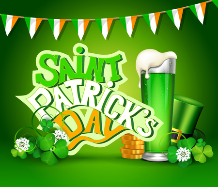 St. Patrick's Day greeting card with clover, flags, green hat, beer and gold icons. Illustration