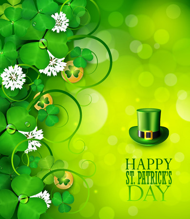 St. Patricks day greeting card with clover and gold icons. Ilustrace