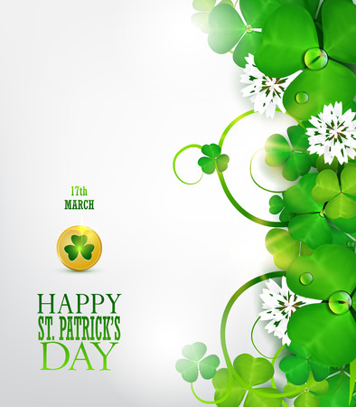 St. Patricks day greeting card with clover. Ilustrace