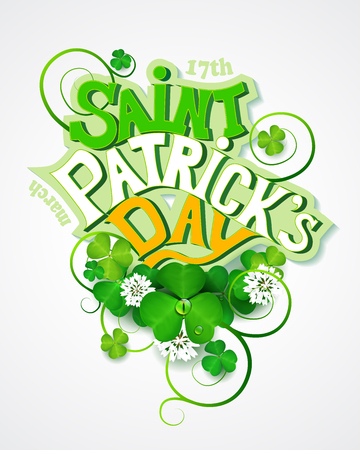 St. Patrick's day greeting card with clover. Illustration