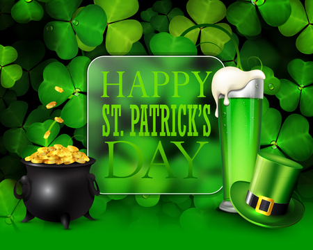 St. Patricks day greeting card with clover, green hat, pot of gold and glass of beer.