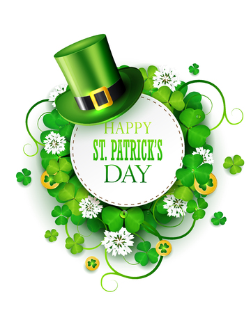 St. Patrick's day greeting card with clover and green hat.