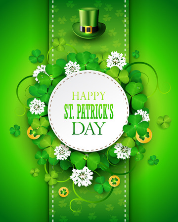St. Patricks day greeting card with clover and gold coins.