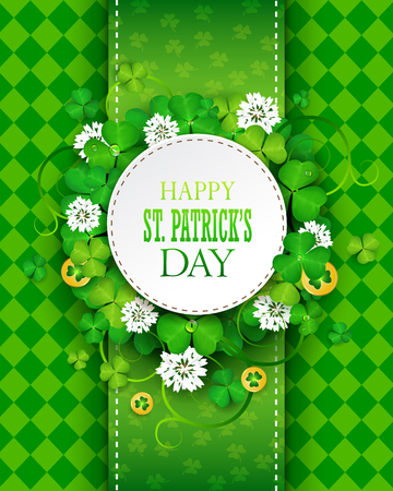 St. Patrick's day greeting card with clover and gold coins. Illustration