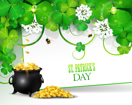 St. Patricks day greeting card with clover and pot of gold.