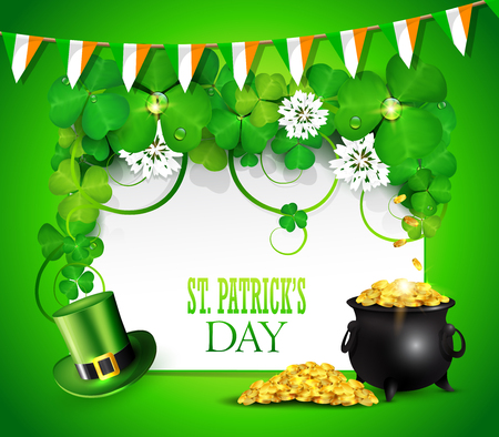 St. Patrick's day greeting card with clover, pot of gold and green hat.