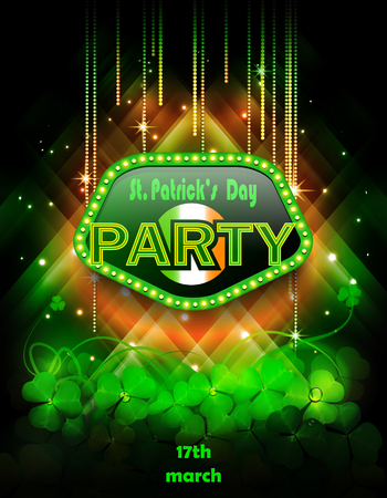 St. Patricks Day party with clover. Ilustrace