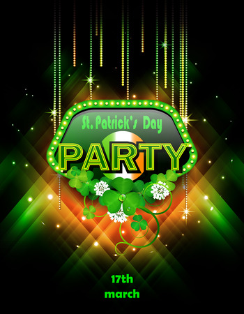 St. Patrick's Day party with clover design on black background.