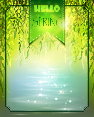 Spring background with willow and water