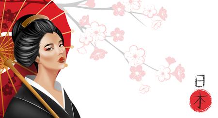 Background with beautiful geisha girl, sakura and umbrella