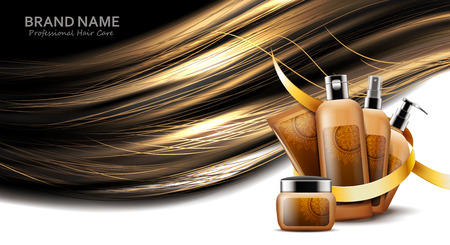Cosmetic bottles of diffrent products for hair care
