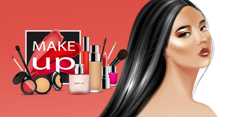 Beauty and cosmetics background with different products, smears lipstick and asian model with black long hair