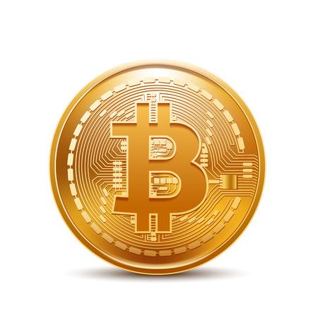 Bitcoin isolato su sfondo bianco