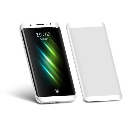 Witte smartphone met schermbeschermer