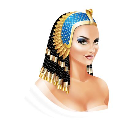 Kleopatra ägyptische Königin isoliert auf weißem Hintergrund Vektorgrafik