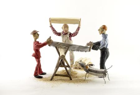 dollhouse: three man chopping wood on white background