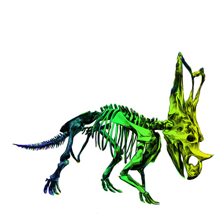 the skeleton of the dinosaur Triceratops, color image, color gradient; blue, green and yellow colors, sketch vector Illustration