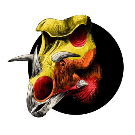 Head of a dinosaur Triceratops, peeks out from behind the black circle, colored drawing, color yellow, orange and red