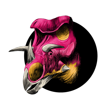 triceratops: The head of a dinosaur breed of Triceratops, peeks out from behind the black circle, color image, color pink and yellow.