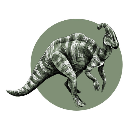 The good dinosaur with a horn on its head, with short legs, stripes, graphics, sketch vector black and white drawing on a background of green circle.