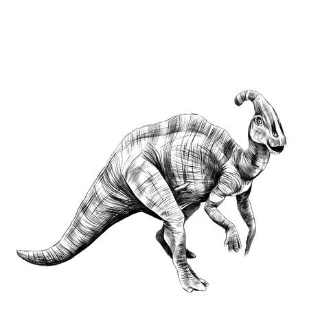 il buon dinosauro con un corno in testa, con gambe corte, strisce, grafica, disegno vettoriale schizzo in bianco e nero Vettoriali