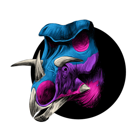 black circle: Artistic design of a head of a dinosaur breed of Triceratops, peeks out from behind the black circle, color image, color blue and pink.