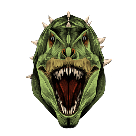 the dinosaur head is symmetrical looks right with open mouth, skin green color, sketch vector graphics color picture Çizim