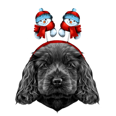 dog breed Cocker Spaniel puppy with Christmas headband on his head with horns, and snowmen, sketch vector graphics color picture Illustration